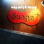 スープカリー スアゲ プラス - 階段の途中にあるお店の看板