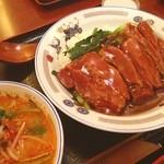 味仙 - ランチ。牛バラ肉のあんかけご飯。