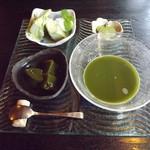 カフェ茶屋 珈夢 - 感動の「抹茶三昧」600円 冷たい抹茶と他3品です。丁寧で芸術的でかつ安いです。  H25.9月撮影