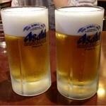 Gansojuuhachiban - 生ビール(中) ¥550 × 2