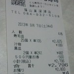 無添くら寿司 - レシート(2013.09.07)