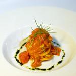 リストランティーノ ルベロ - 生ウニの軽いトマトクリームソース、タリオリーニ