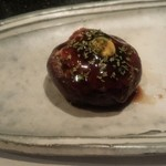 鉄板焼き ステーキ 千手 - 椎茸肉詰め