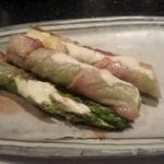 鉄板焼き ステーキ 千手 - 豚肉アスパラ巻き