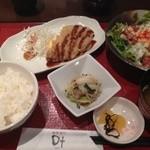 和菜遊彩 叶 - ランチ(豚ロースかつ&厚切りベーコンと温玉のシーザーサラダ)