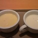 21245165 - スープバーのじゃがいもの冷製スープとコーンスープ。