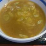 常勝軒 - スープ割にねぎを入れてくれました。