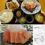 浅野屋 - 三色お造り定食まぐろ浅野屋(奈良県五條市)食彩賓館撮影