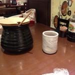 とんかつ 和幸 - 巨大ソース壺