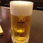 双庵 - サッポロ生ビール 中ジョッキ 500円。
