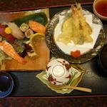 21301991 - にぎり和定食(海老とハゼの天ぷら) むさし寿司