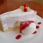 パパジョンズカフェ - ピーチムース レアチーズケーキ