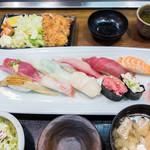 いづみや - 寿司ダブル定食1550円