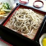ビューファーム鳥原平 名水そば - もりそばと野菜天ぷら。