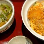 博多綱場町そば茶屋華元 - カツ丼 暖かい蕎麦セット