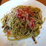 21386623 - イタリア産ホエー豚ベーコンと茄子の大葉ソースパスタ(ランチセット)\1290