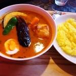 カリーアンドカフェ ガネーシャ - チキンレッグ・キーマ&青とうがらし・野菜