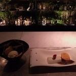 強羅天翠 - 足湯BARに移動して・・・御甘:チーズのアイスと牛乳カン?