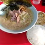 ラーメンショップ - 料理写真:ネギラーメン(麺少なめ 固め 脂多め)玉子焼き ライス 2013年9月