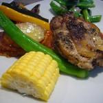 21428761 - 鶏腿肉のコンフィ、野菜