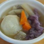 糸舞季 - サービスで頂いただご汁。紫芋の団子が美味しい!