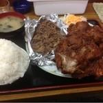 あさチャン - 2種ミックス定食 おかず大盛り(倍盛り)1500円 焼肉