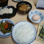 細江屋 - 料理写真:1-1)朝食定食(700円)+こも豆腐(200円)
