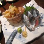 21466742 - 「つぶ貝」880円+「北海道産新サンマ」580円