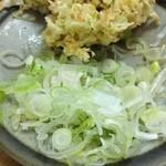清原うどん - 天ぷらと刻み葱とワサビと皿