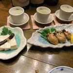 21498316 - ごま豆腐ゆずみそがけ、牡蠣オイル漬け