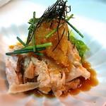 山陰旬華 新鮮組  - 大山鶏と弓ヶ浜白葱のおろしポン酢。地元名産品のコラボです。