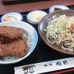 21519105 - 越前そば(辛味)・ソースかつミニ丼の定食