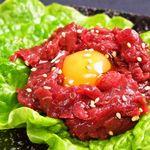 若葉屋 - さくらユッケ609円。高たんぱく・低脂肪・豊富な鉄分!※生食用の新鮮馬肉刺を使用。