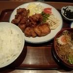 川船 - 唐揚げ定食+ミニそば