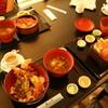 海の家 - 料理写真:えび天丼、あかい器は味噌汁