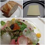 博多和田門 - 魚介のオードブル・・帆立や鯛など魚介タップリです。少し甘めのドレッシングもいいお味でした。       パンは途中でもう1個追加してくださいました。