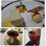 博多和田門 - デザートとドリンク。ドリンクは珈琲・紅茶などから選べます。