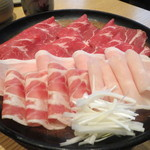 銀座しゃぶ通 好の笹 - 四種類のお肉盛り合わせ