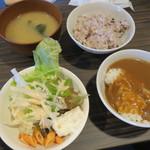 はらだ牧場 - 定食のご飯(五穀米と白ごはん)、味噌汁、サラダ、カレーはセルフサービス