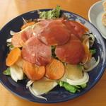 21591477 - イベリコ豚の燻製と根菜サラダ