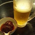 きづな - 料理写真:生ピール(キリン)とお通し