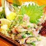 旬味そば 名倉 - アジのたたき