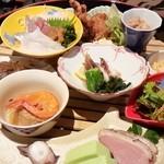 海鮮問屋 海ぼうず - 大名椀御膳の前菜、焼き物、煮物、揚げ物など・・・