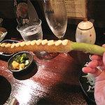 串揚げひょうたん 赤坂店 - 太くて長~いグリーンアスパラガス。