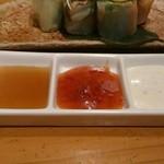 21640697 - 野菜たっぷりの生春巻き 青紫蘇、チリソース、シーザーのソースでw
