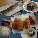 幸田町食堂 - 秋刀魚、カキフライ、茄子煮浸し、おから、ご飯、味噌汁