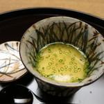 お料理 宮本 - すっぽんの冷やし茶碗蒸し、下にさつまいもを敷いて。
