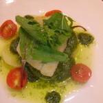 船場食堂 サスケ - 鮃のポワレ バジルソース サスケコース料理
