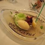 ラッフィナート - パンナコッタ 赤いフルーツのマチェドニアとバニラのジェラート添え