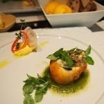 レザンドールザ陽明クラブ - ・ハモと帆立貝のベニエフライ・キュウリと吉野葛のソース スイートコーンのムース添え